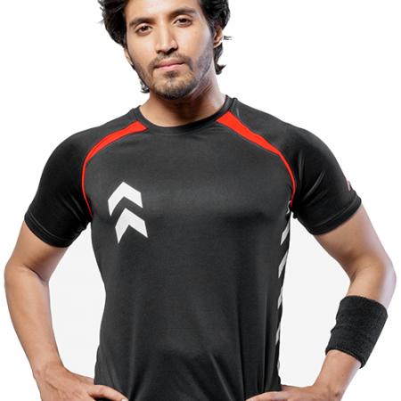 Men's Black & Red Dry Fit T-shirt Online - Impakto
