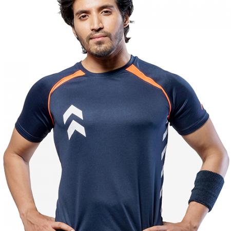 Men's Blue & Orange Dri Fit T-shirt In India - Impakto